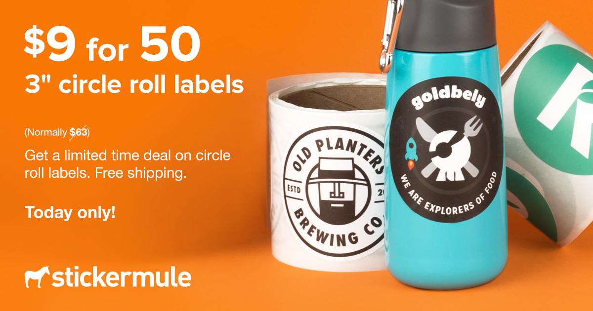Stickermule: Etiquetas redondas en rollo personalizadas de 76 mm × 76 mm