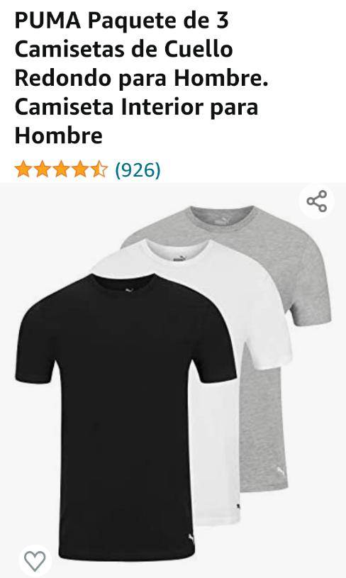 Amazon: Paquete de 3 Camisetas PUMA, Camiseta Interior (CH, MED, G, XL)