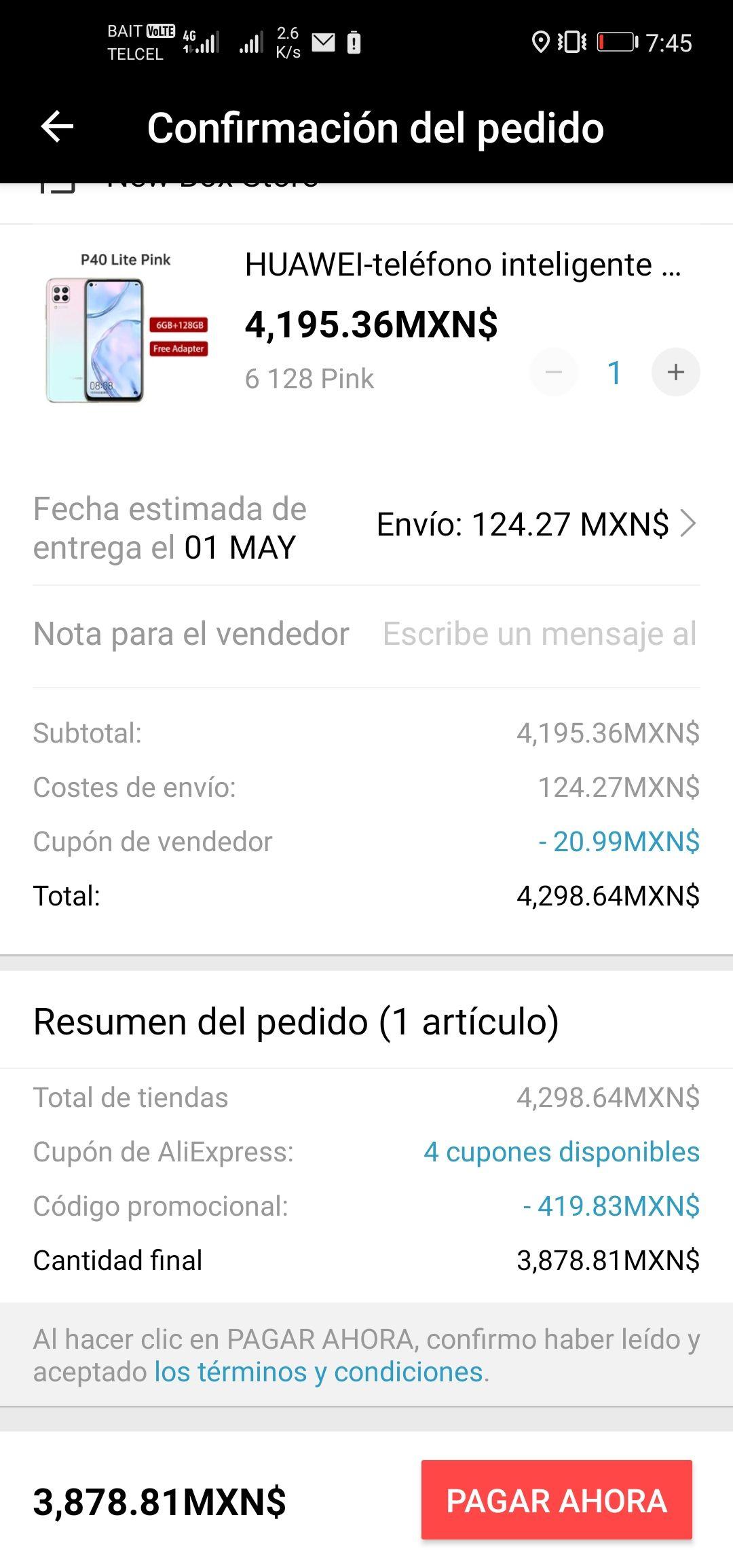 AliExpress: Huawei p40 lite