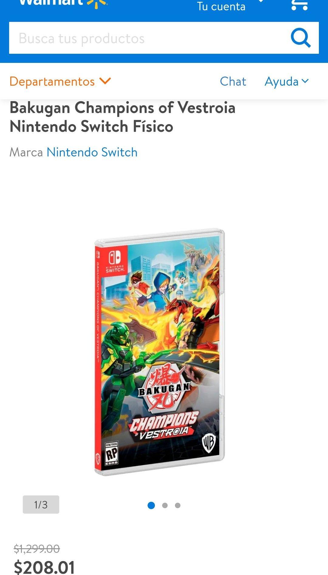 Walmart: Bakugan 208.01 y Street Power Football 163.01 Nintendo Switch