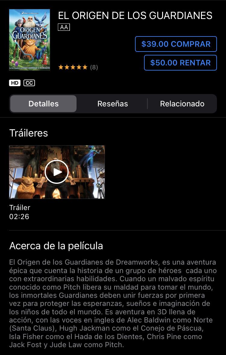 iTunes: EL ORIGEN DE LOS GUARDIANES