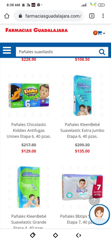 Farmacias Guadalajara, Pañales KleenBebé Suavelastic Extra Jumbo Etapa 6, 40 pzas.