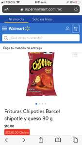 Walmart: 3 x $20 Frituras Chipotles Barcel chipotle y queso 80 g