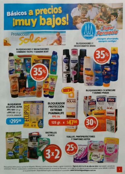 Folleto de ofertas en Farmacia Guadalajara del 1 al 15 de julio de 2014