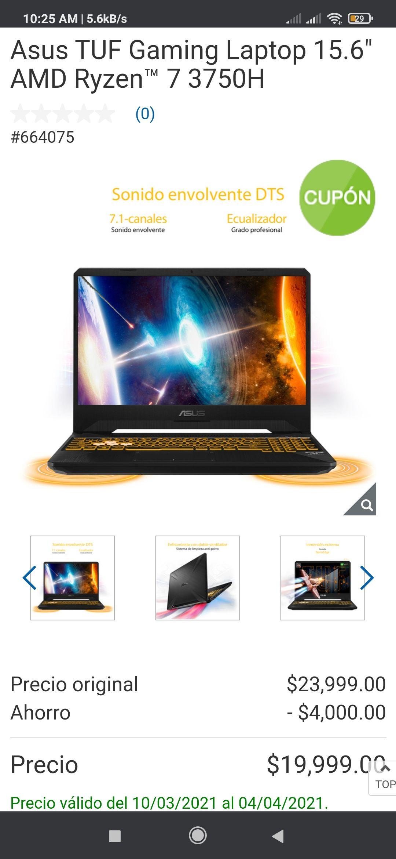 "Costco: Asus TUF Gaming Laptop 15.6"" AMD Ryzen™ 7 3750H con Banorte"