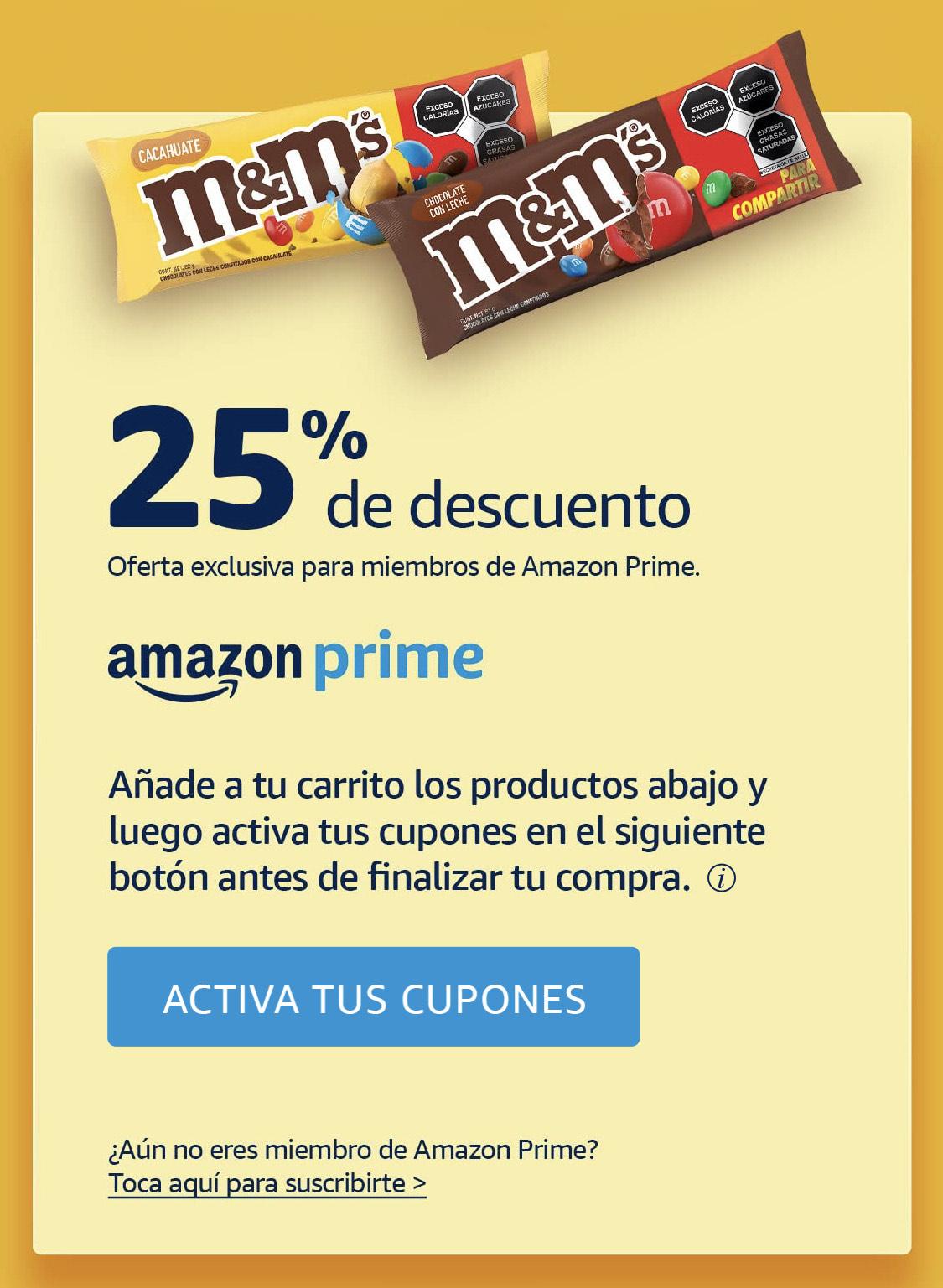 Amazon, 25% descuento en productos M&M's