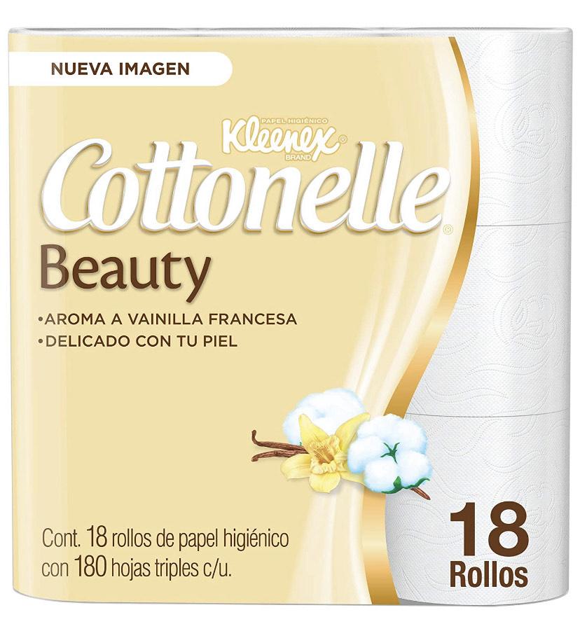 Amazon: Kleenex Cottonelle Beauty, Papel Higiénico 18 Rollos x 180 Hojas Triples