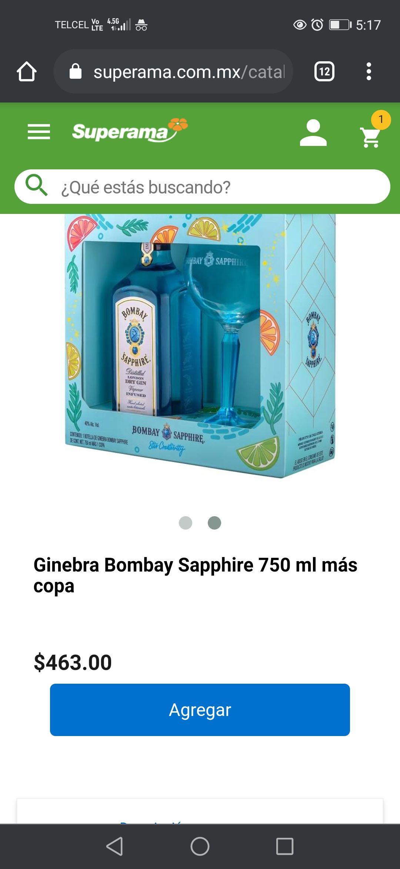 Superama: Ginebra Bombay Sapphire 750 ml + una copa