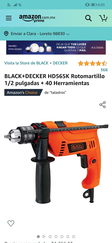 Amazon: Taladro BLACK+DECKER HD565K Rotomartillo 1/2 pulgadas + 40 Herramientas
