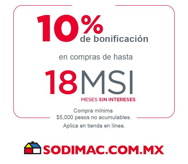BANORTE.Sodimac. Compra en línea y recibe 10% de bonificación en compras de hasta 18 Meses sin Intereses con tus Tarjetas de Crédito BANORTE
