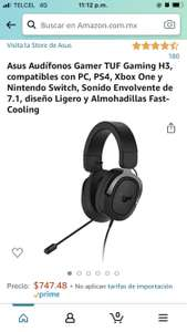 Amazon: Asus Audífonos Gamer TUF Gaming H3