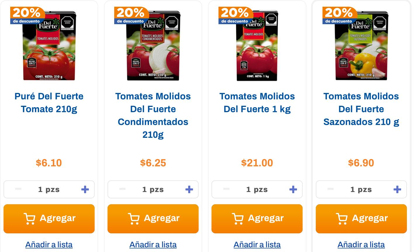 Chedraui 20% descuento puré de tomate del Fuerte y Herdez