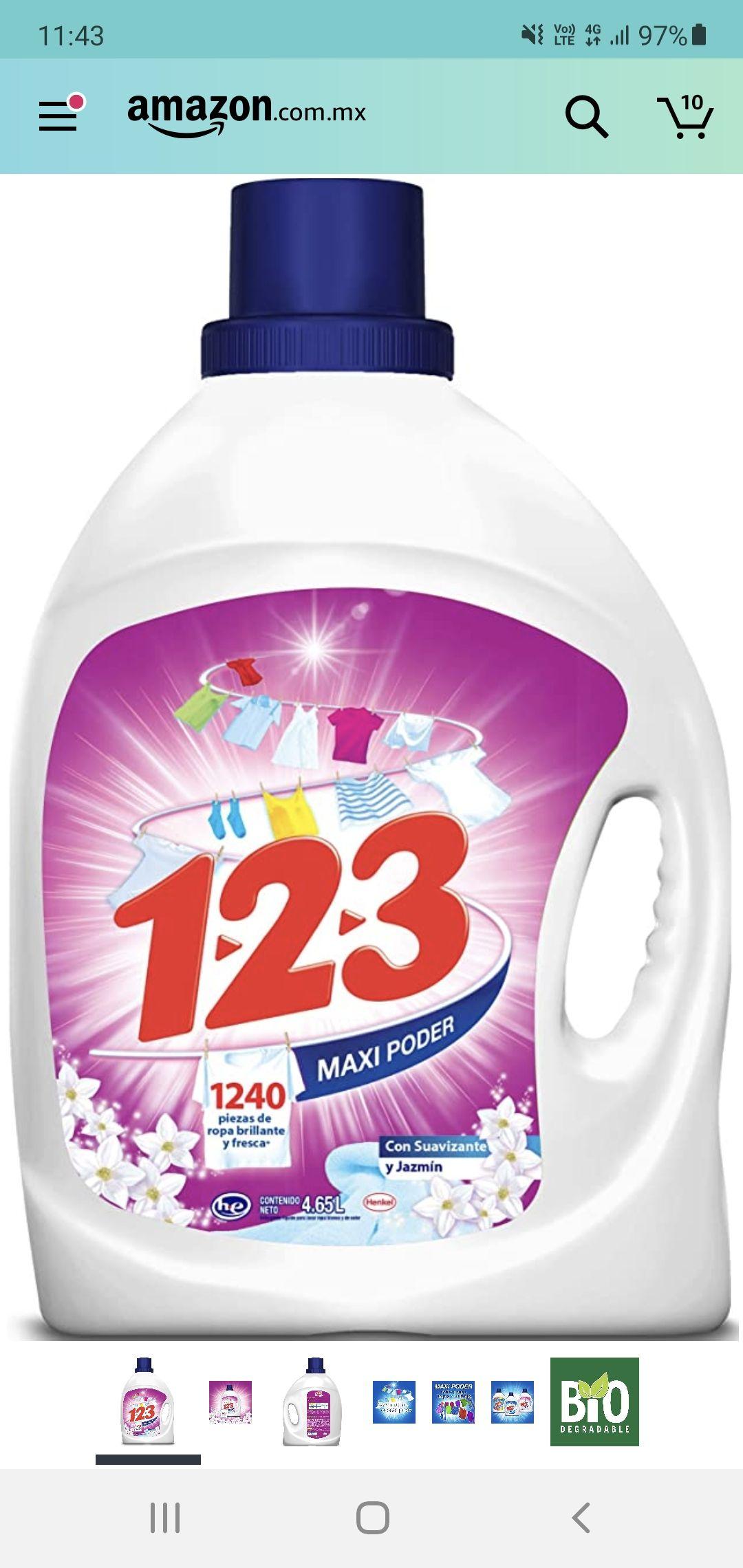 Amazon 123 maxi poder con suavizante y jazmin 4.65 litros ( con planea y ahorra )
