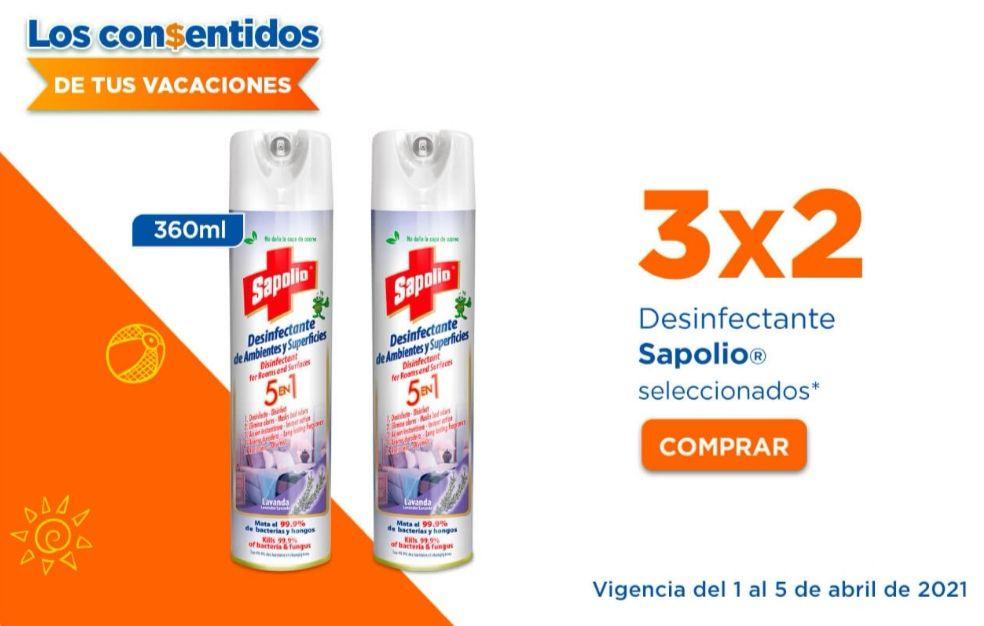 Chedraui: 3 x 2 en desinfectante Sapolio
