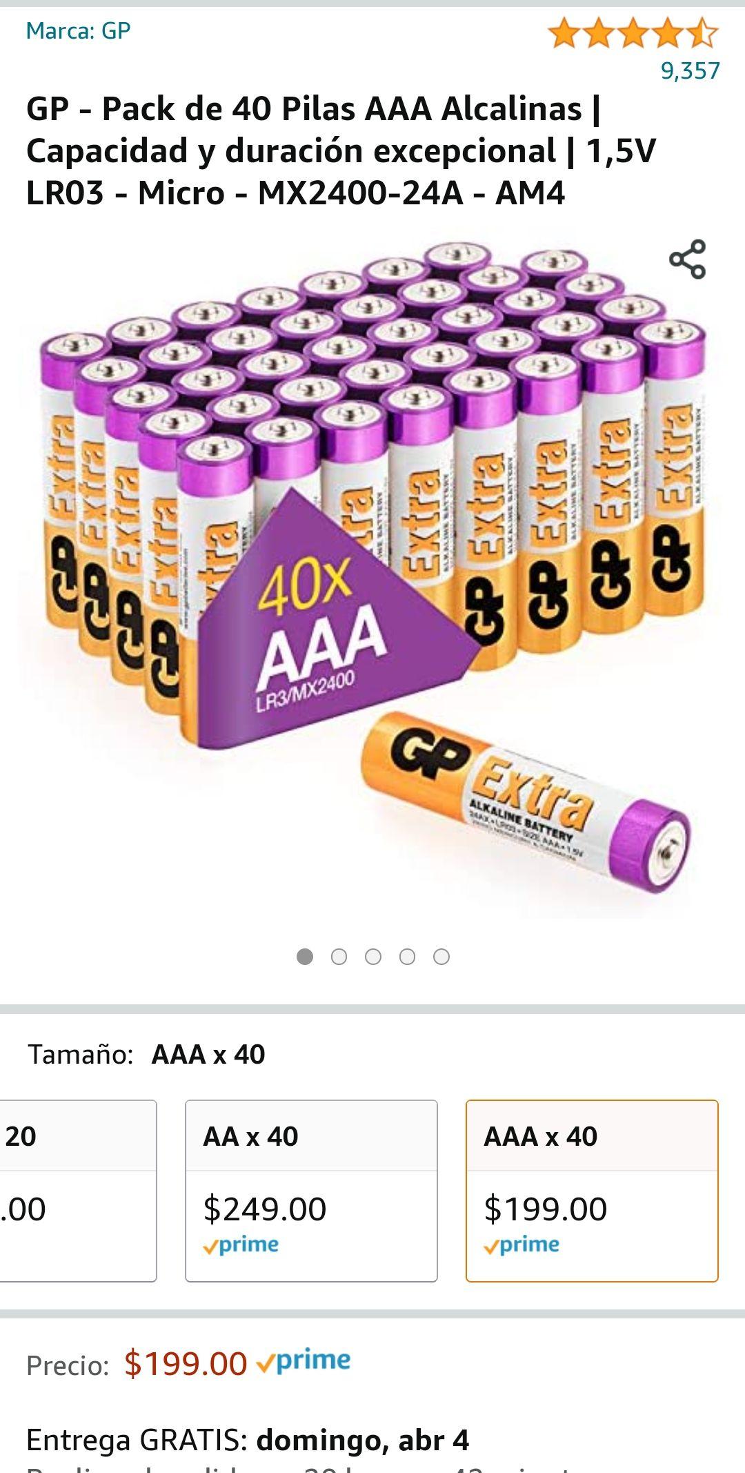 Amazon, GP - Pack de 40 Pilas AAA Alcalinas | Capacidad y duración excepcional | 1,5V LR03 - Micro - MX2400-24A - AM4
