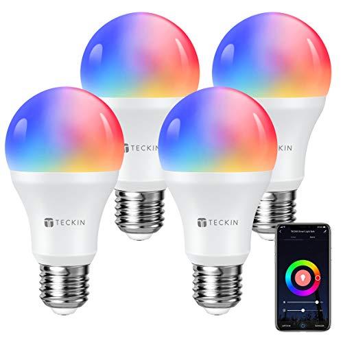 Amazon, 4 Focos inteligente WiFi con luz blanca cálida, TECKIN 16 millones RGBCW, funciona con Alexa, Echo, Google Home y Siri