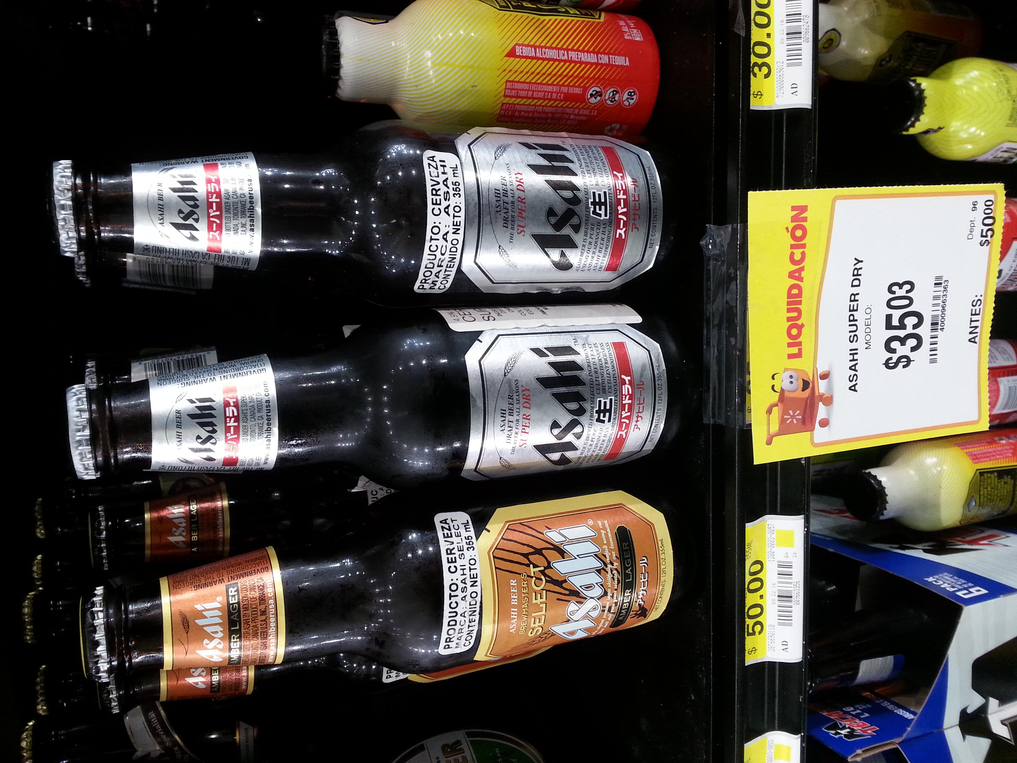 Walmart La Isla Culiacan Sinaloa: Cerveza Asahi super dry de $50 a $35.03