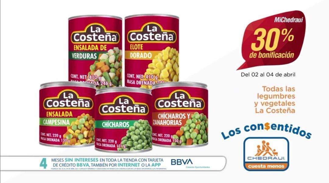 Chedraui: 30% de descuento / bonificación en todas las legumbres y vegetales La Costeña
