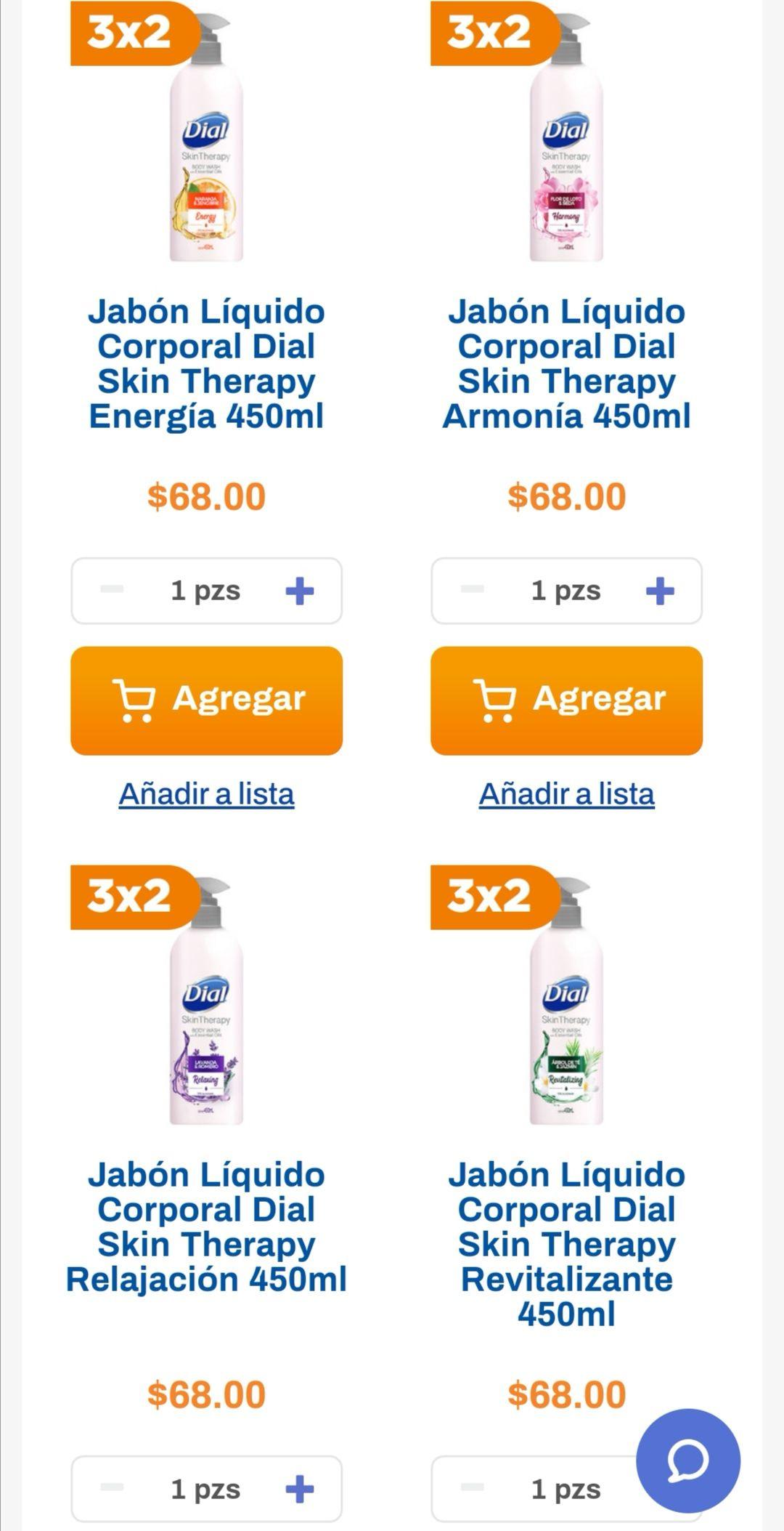 Chedraui: 3 x 2 en jabón líquido corporal Dial Skin Therapy