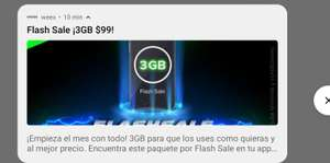 Weex, Flash Sale: 3GB por 30 días por $99