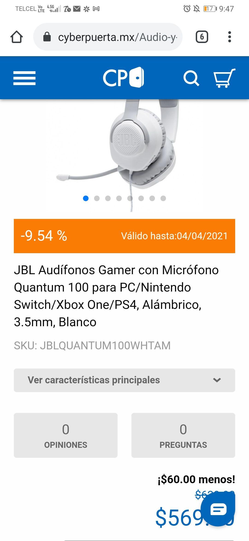 Cyberpuerta, Audifonos gamer jbl quantum 100