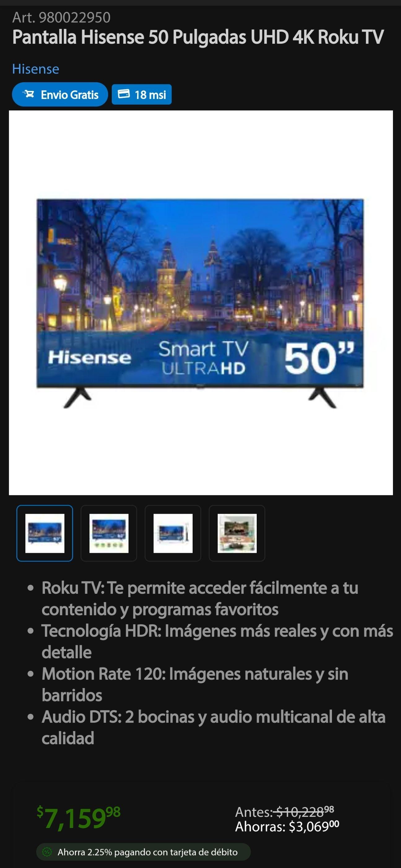 Sam's Club: Pantalla Hisense 50 Pulgadas UHD 4K Roku TV (2020) R6000GM