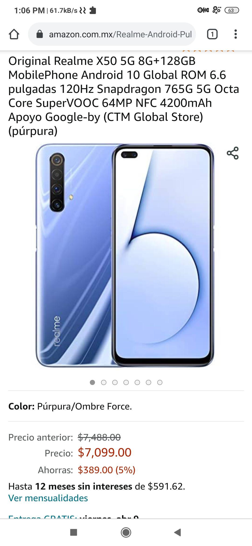Amazon: Realme X50, Versión Global 6/128, Desbloqueado - Color Púrpura