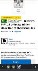 Microsoft Store: FIFA 21 ultimate edition Xbox one & Xbox series S/X