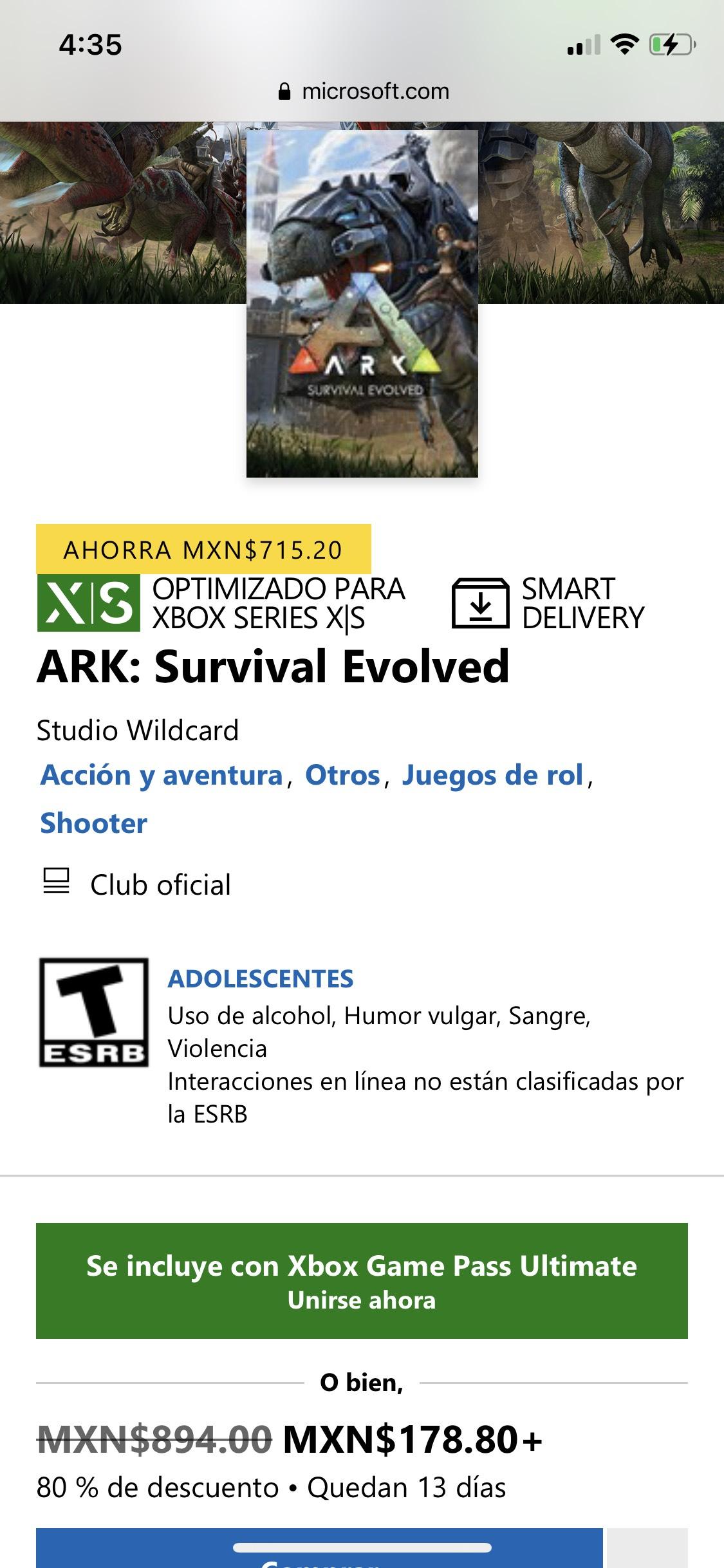 Microsoft store: Ark Survival Evolved Xbox One