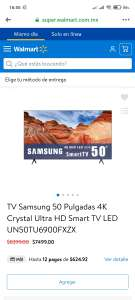 Walmart: TV Samsung 50 Pulgadas 4K Crystal Ultra HD Smart TV LED UN50TU6900FXZX