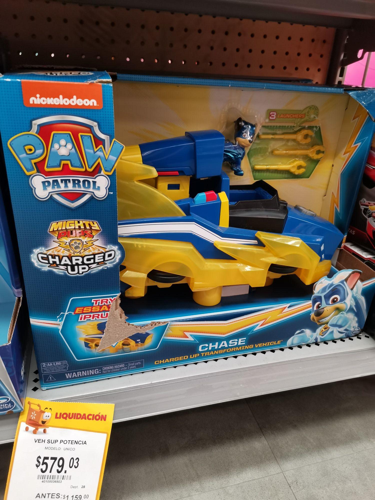Walmart Félix Cuevas CDMX: Paw Patrol Super Potencia $579.03 y Vaporera Komale $419.03