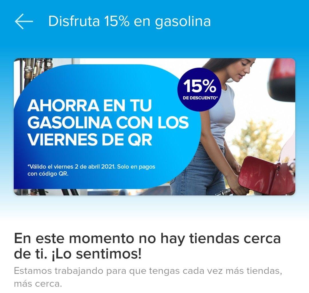 MercadoPago 15% descuento gasolina hoy