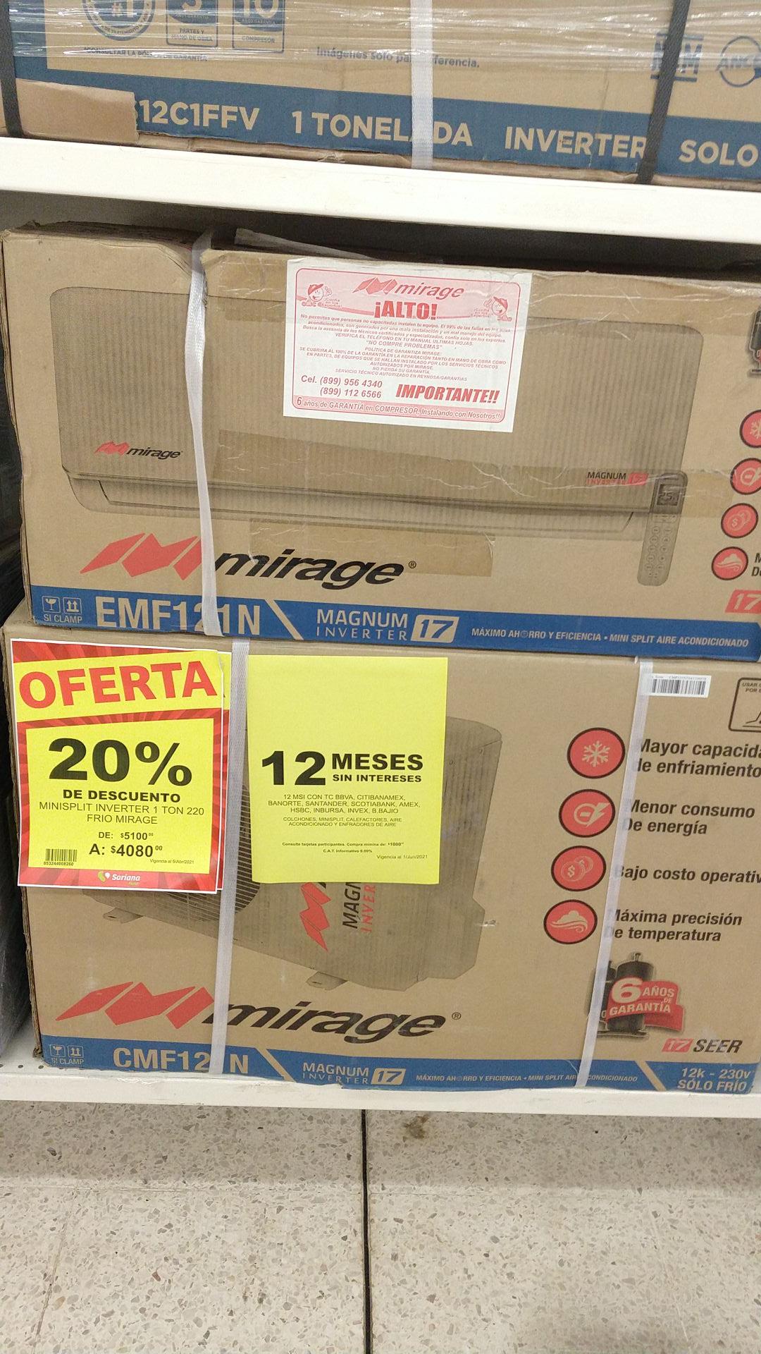 Soriana hiper: minisplit inverter Mirage Magnum 17 220v solo frío