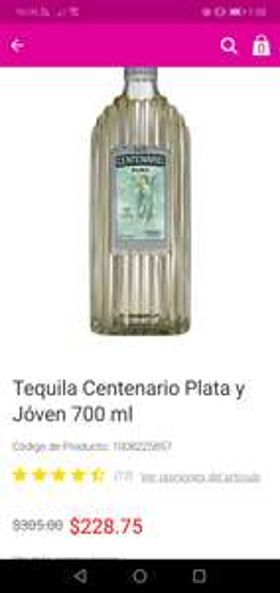 Liverpool: Tequila centenario plata $217