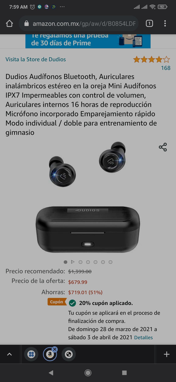Amazon Audífonos Bluetooth Más Cupón 20% De Descuento (se aplica al finalizar compra)