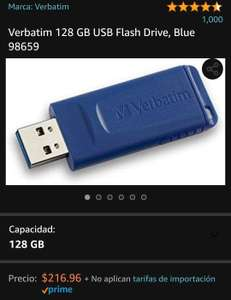Amazon (Prime) - memoria Verbatim 128 GB USB 3.0 Flash Drive, Blue 98659