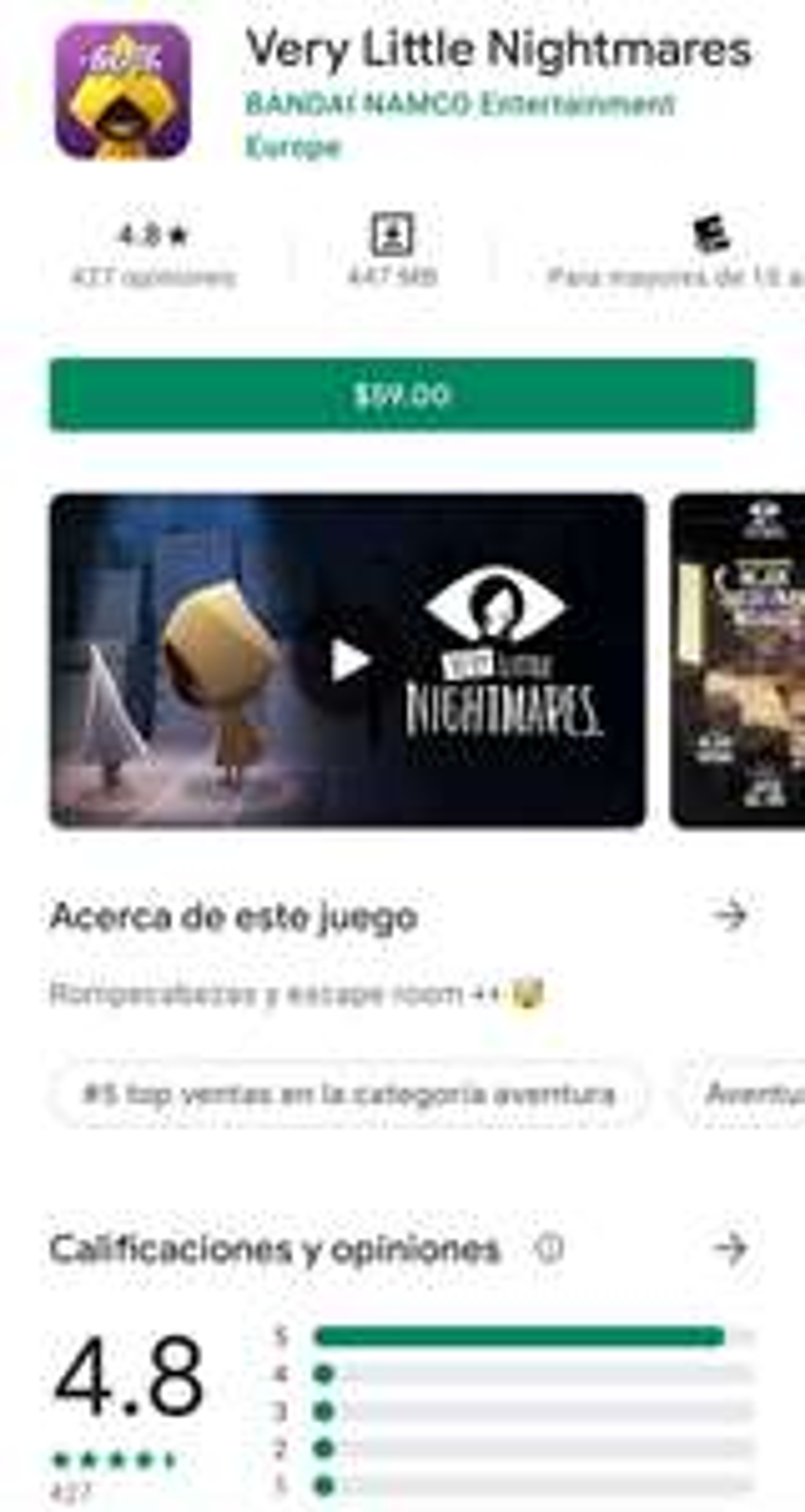Google Play: Very Little Nightmares -60%