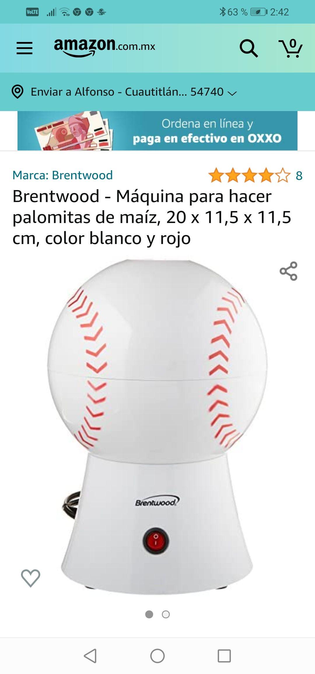 Amazon : Brentwood - Máquina para hacer palomitas de maíz, 20 x 11,5 x 11,5 cm, color blanco y rojo