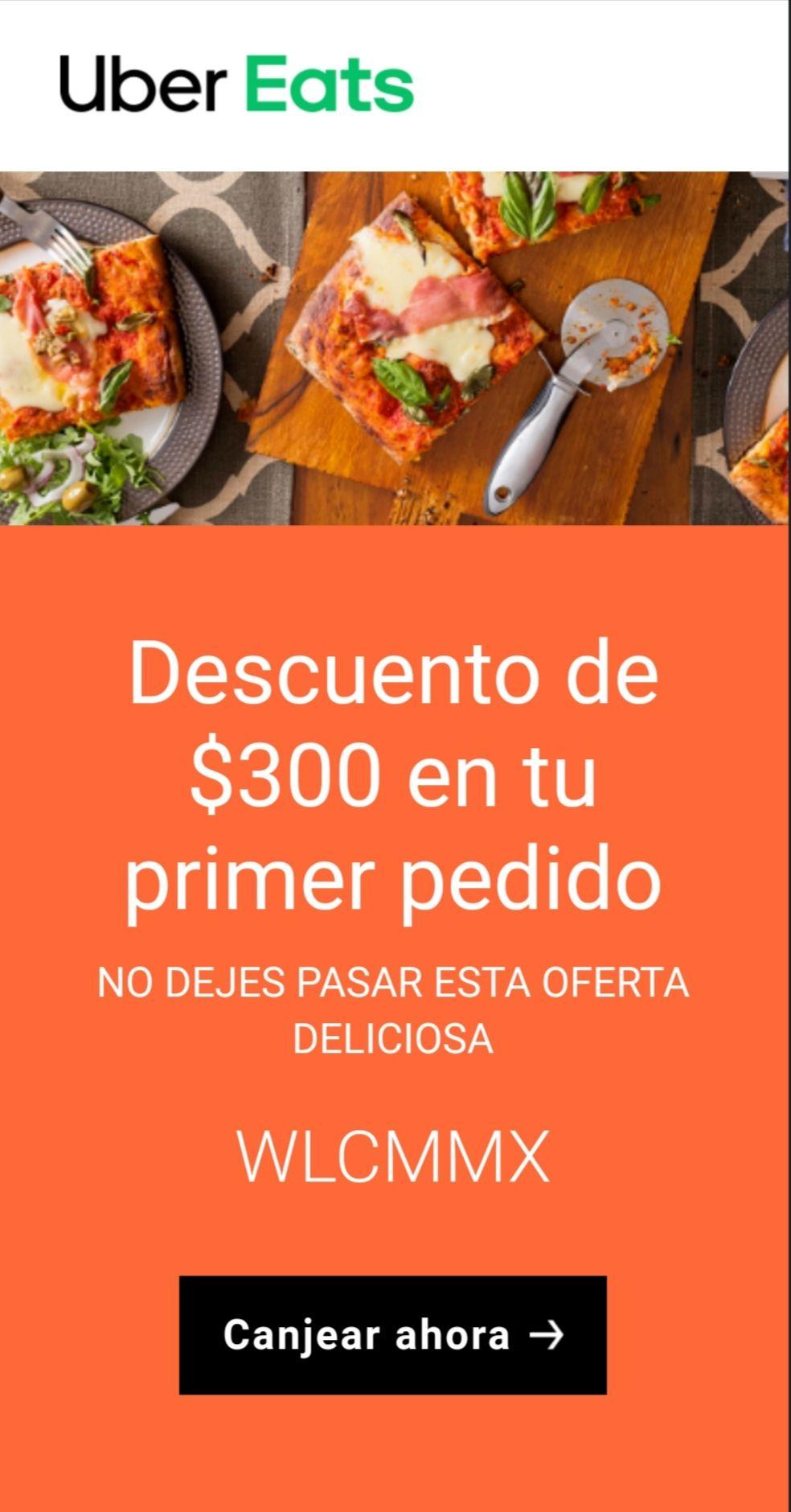 Uber Eats: Descuento $300 en primer pedido