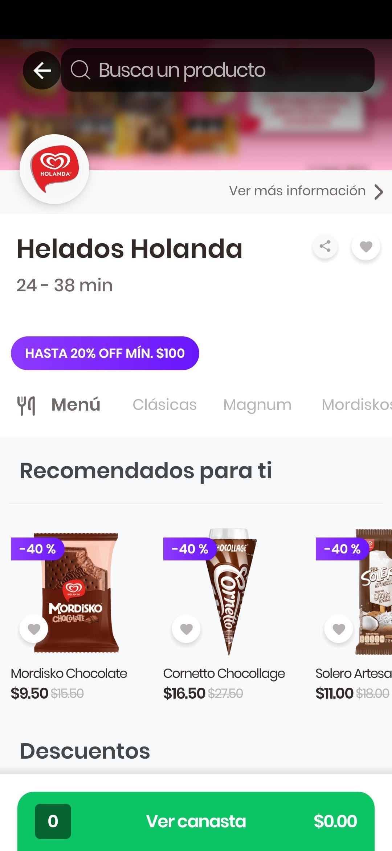 Rappi y Holanda: 40% en heladería más 20% extra en compra mínima de 100 CDMX