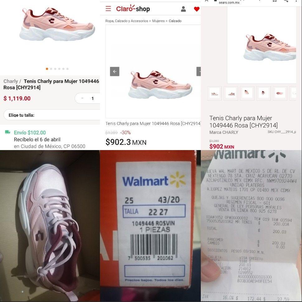 Walmart: Tenis Charly Rosa/Vino 1049446