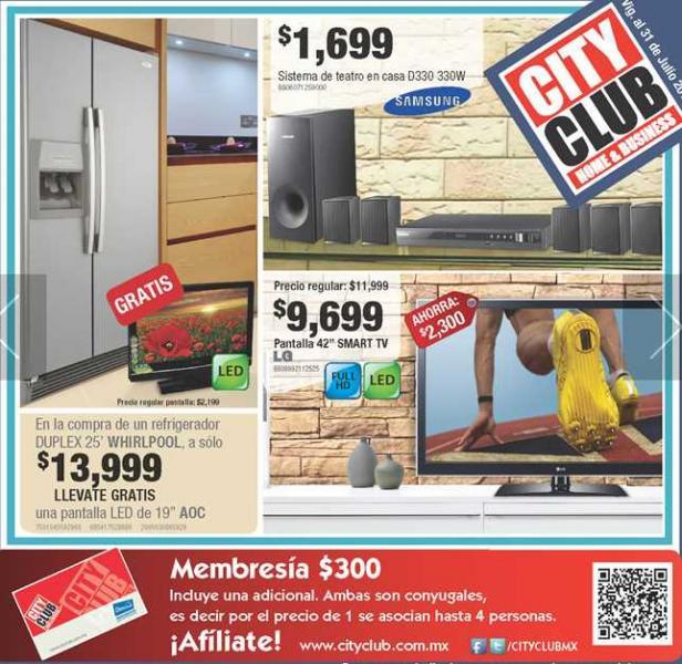Chequera City Club julio 5: 20% de descuento en salas, mesas para TV, tenis Spalding y más