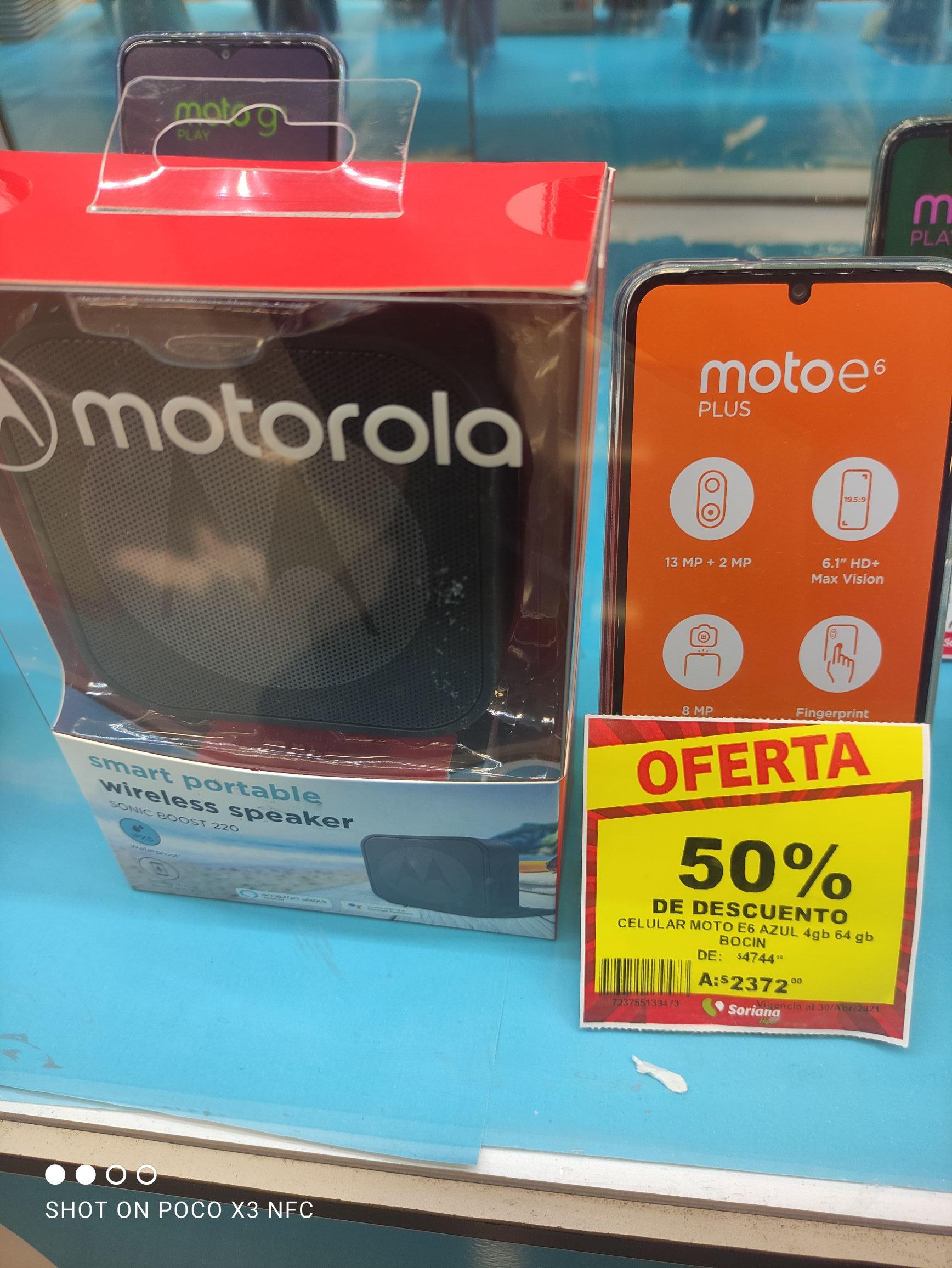 Soriana: Moto e6 plus 4gb ram 64 GB memoria interna + bocina motorola