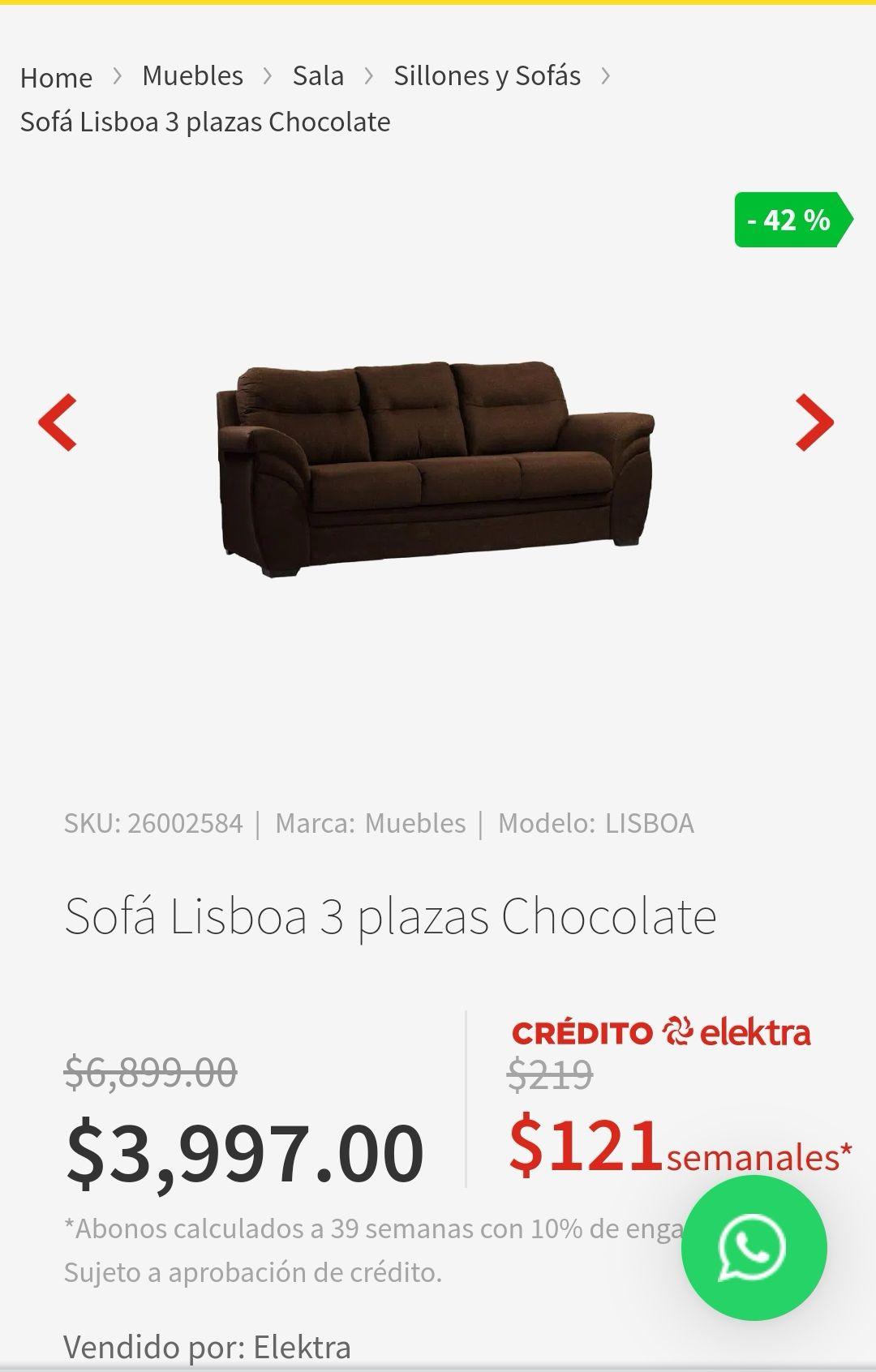 Elektra: Sofá Lisboa 3 personas Color Chocolate