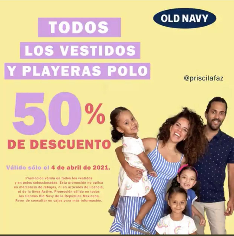Old Navy 50% en vestidos y playeras polo