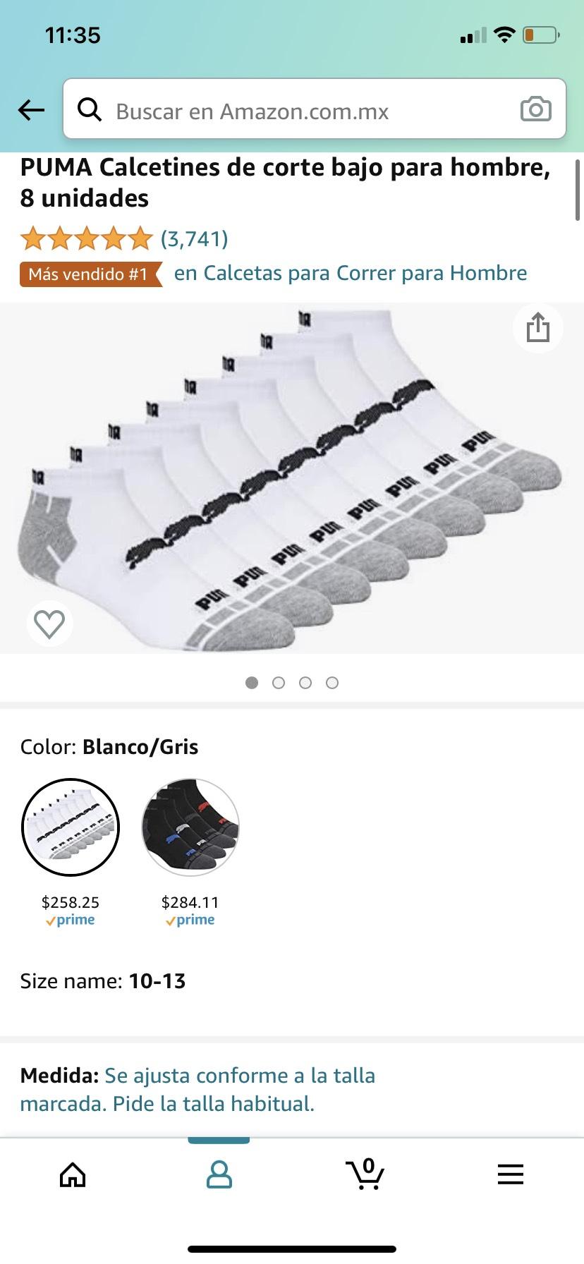 Amazon: PUMA Calcetines de corte bajo para hombre, 8 pares