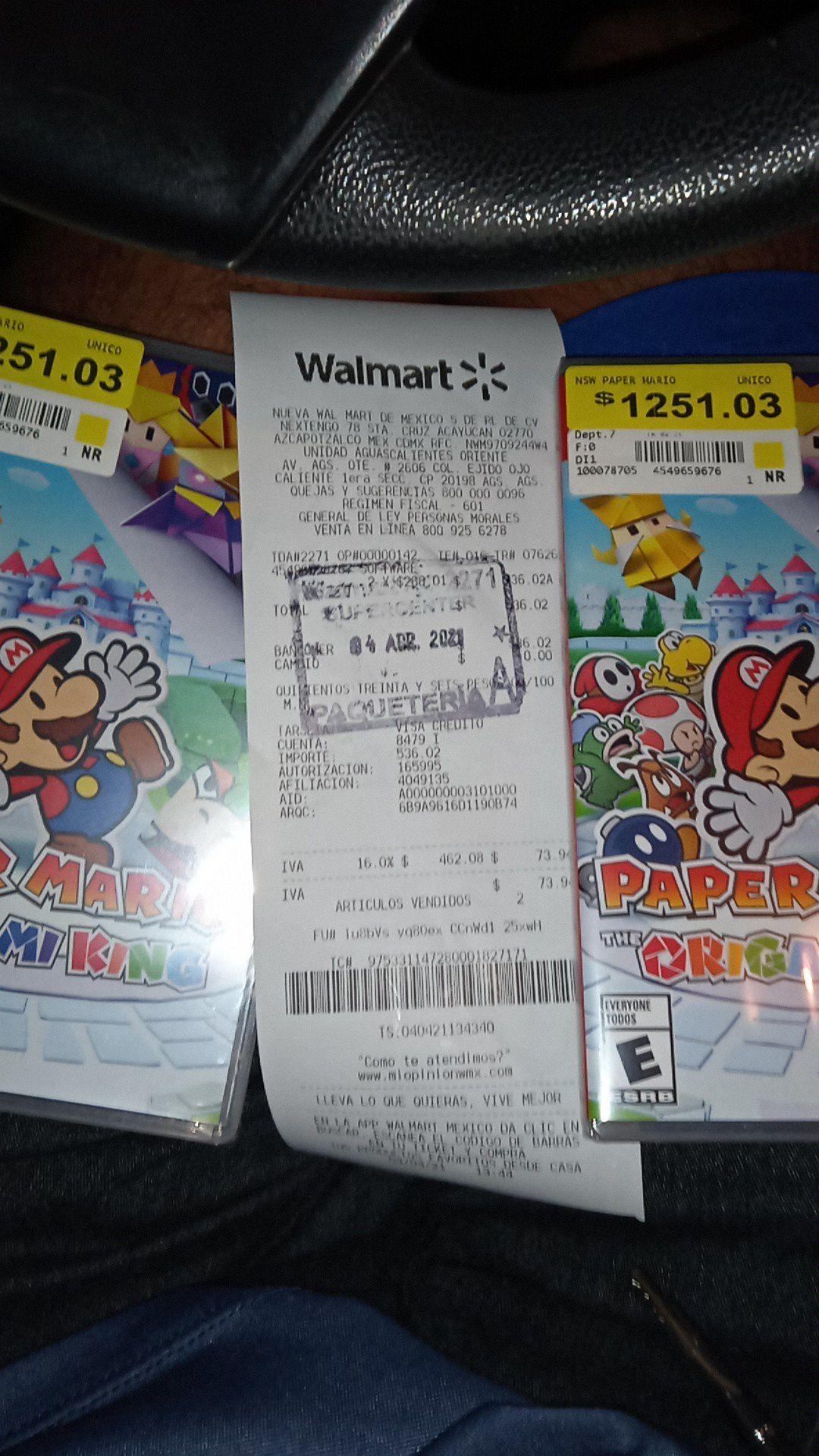 Walmart Oriente Aguascalientes:. Paper Mario: The Origami King