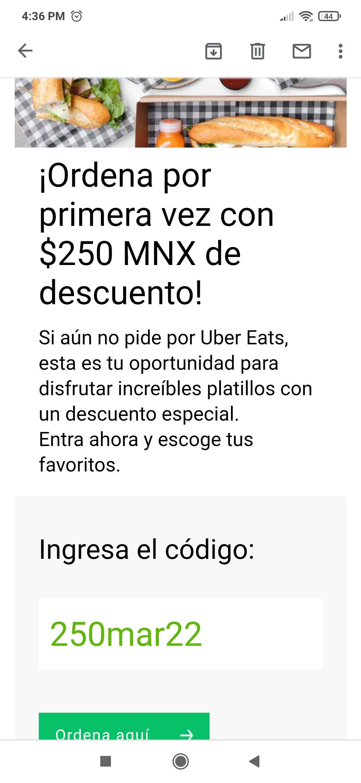 Uber eats: Cupón de $250 de descuento en tu primera orden