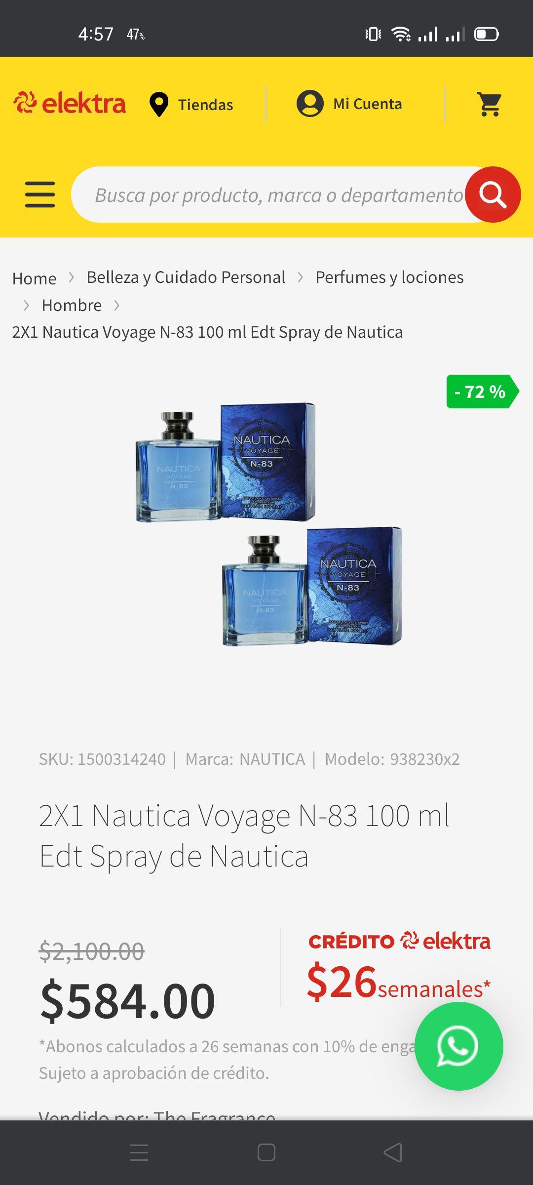 Elektra: Perfume 2X1 Nautica Voyage N-83 100 ml Edt Spray de Nautica