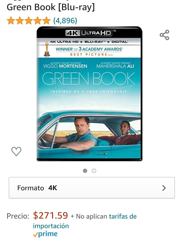 Amazon: Pelicula GREEN BOOK EN 4K